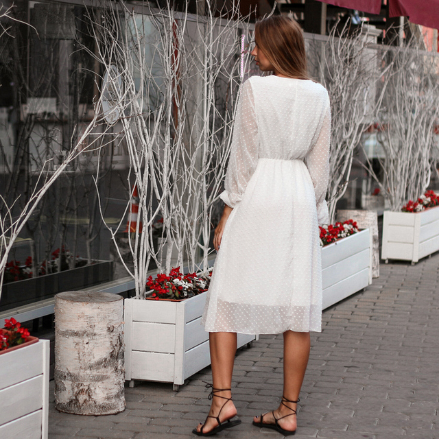 BGTEEVER Ruffles Polka Dot Women Chiffon Dress Elastic Waist Flare Sleeve Female Long Vestidos A-line White Dress 2019 4