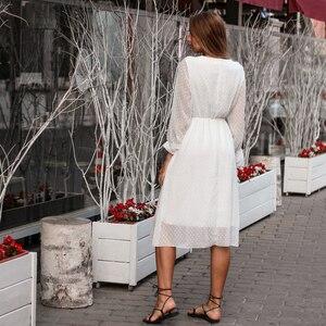 Image 4 - BGTEEVER Rüschen Polka Dot Frauen Chiffon Kleid Elastische Taille Flare Hülse Weibliche Lange Vestidos A linie Weiß Kleid 2019