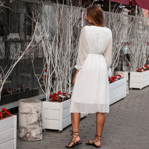 Image 4 - BGTEEVER ראפלס מנוקדת נשים שיפון שמלת אלסטי מותניים התלקחות שרוול נקבה ארוך Vestidos אונליין לבן שמלת 2019
