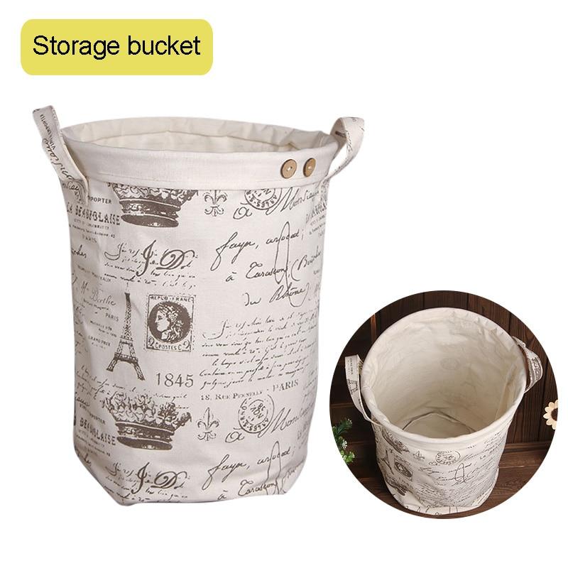 28 x 35cm Cotton Linen Folding Laundry Bag Hamper Washing Clothes Storage Organizer Basket E2S