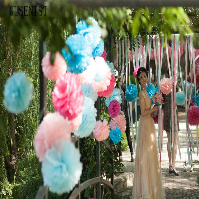 Us 3 64 15pcs Cute Babyshower Decoration 10 15 20cm Tissue Paper Flowers Paper Pom Poms Balls Lanterns Party Decor Craft Wedding In Party Diy