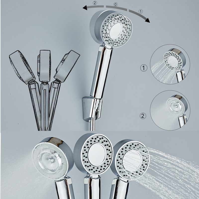 Double-sided Dual Function Shower Head Water Saving Round ABS Chrome Booster Bath Shower High Pressure Handheld Hand Shower 2