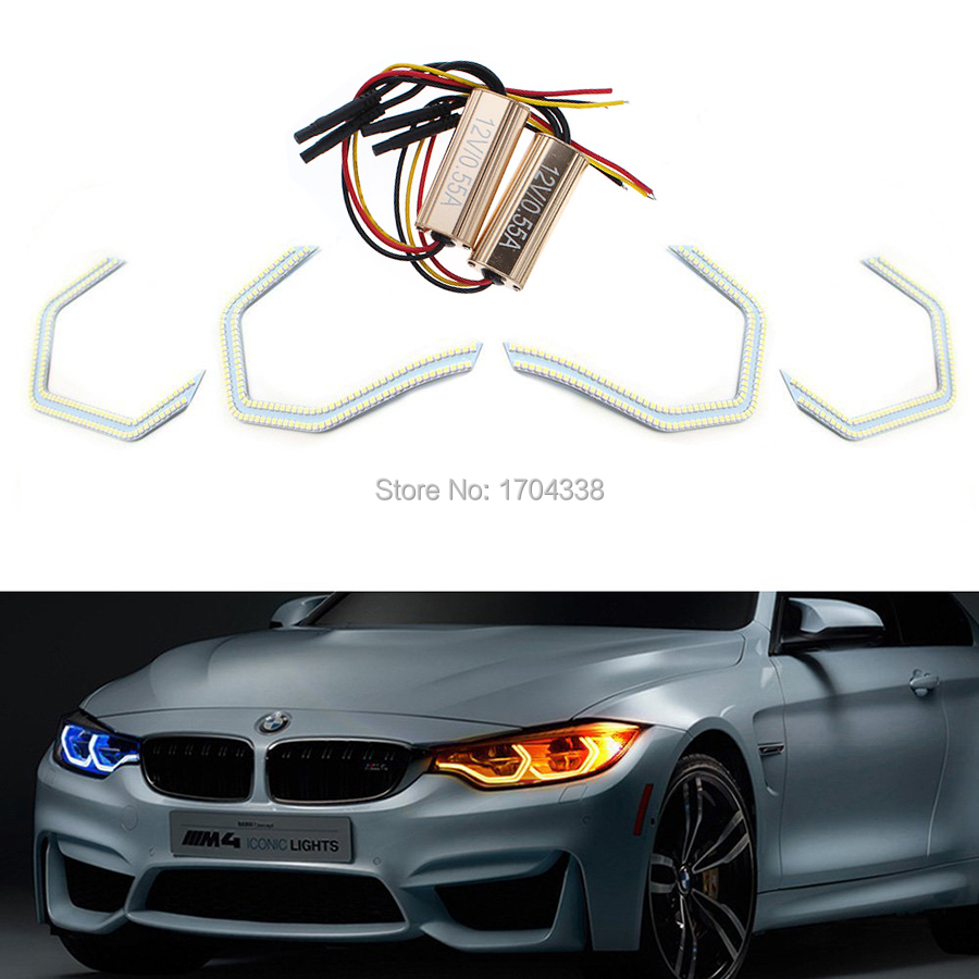Hopstyling 4x Very Cool SMD LED Angel eyes For BMW F30 3Series 2013 M3 M5 E90 M4 Style HaloRing 6500K LED Headlight Car-Styling