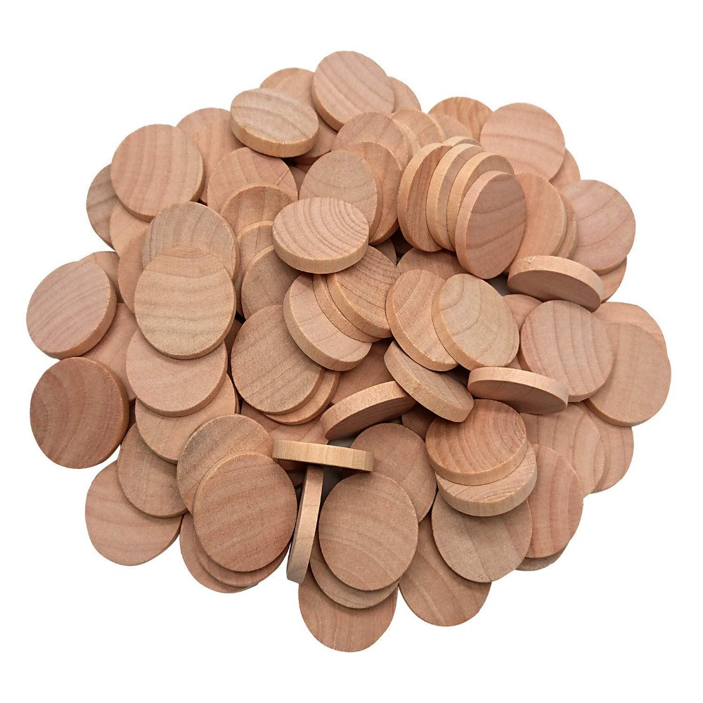 100Pcs Natural Wood Slices 1 Inch Unfinished Round Wood These Round Wood Coins For Arts & Crafts Projects, Board Game Pieces
