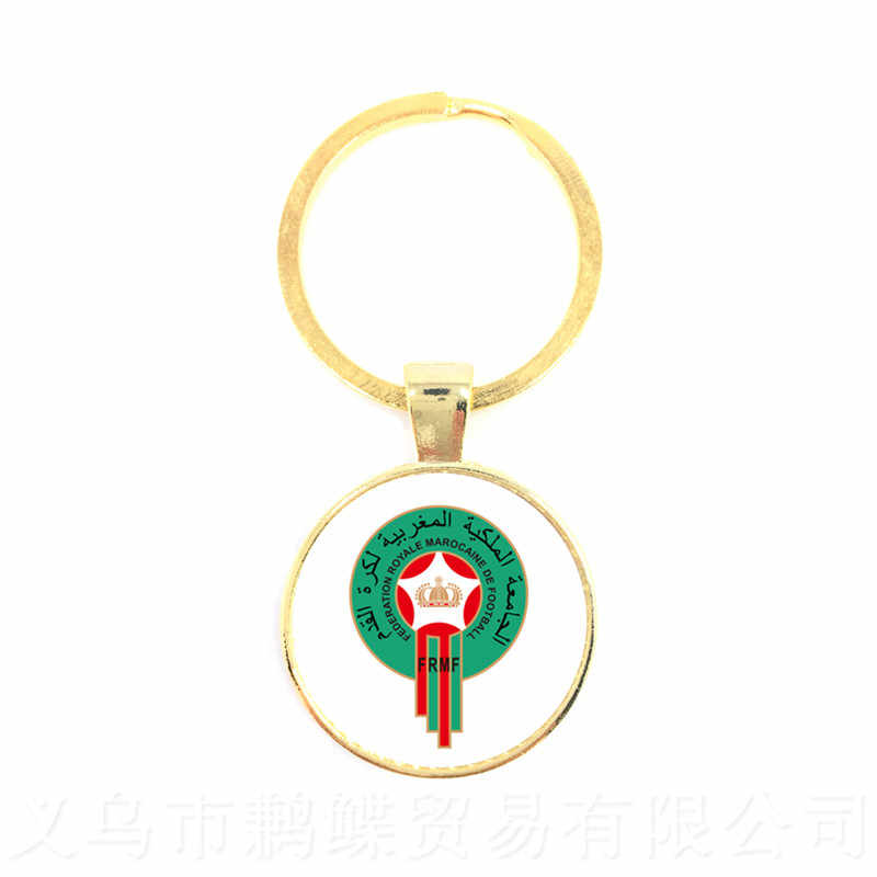 Football Funs Keychain Japan,Portugal,Nigeria,Mexico,Morocco National Football Team LOGO 25mm Glass Dome Pendant Keyring Gift