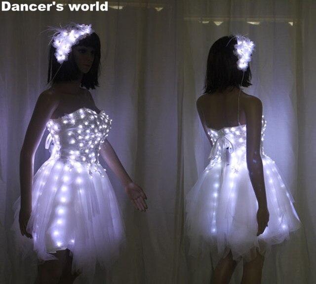 2017 New Belly Dance Dress Led Costumes Bride Light Up Luminous Clothes Costume Ballet Tutu
