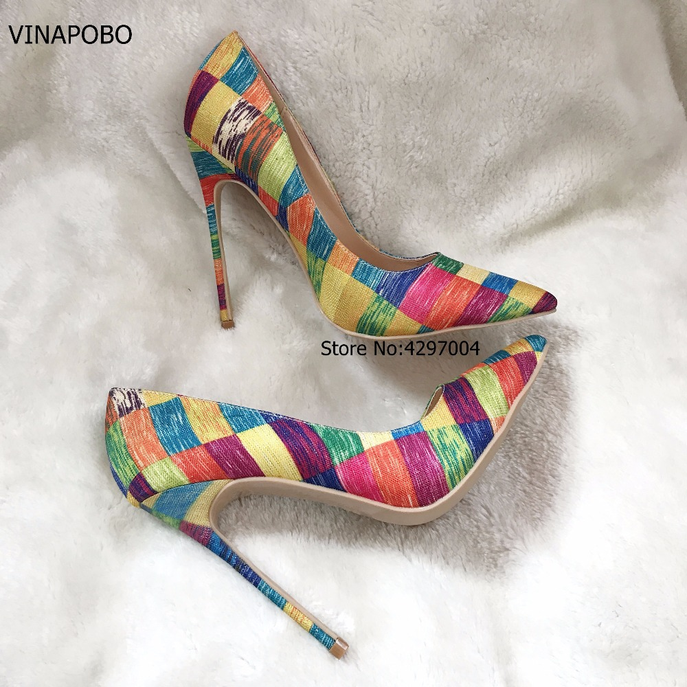 VINAPOBO Stiletto High Heels Women Pumps Colorful Plaid Striped Pointed Toe Shallow Footwear Autumn Party Ladies Shoes SIZE 43