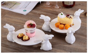 Bunny Rabbit Ceramic plate,Dishes for Dessert Food Server Tray,cute Cake Stand, Tableware Crafts gift for Kitchenware lovers(China)