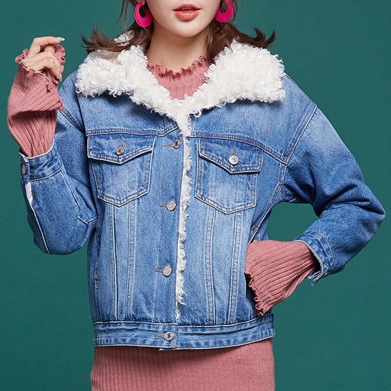 2019 New Arrival Fur Parka Winter Jacket Women Real Fur Denim Coat Female Warm Long Sleeve