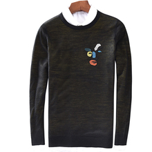 New winter mens sweater, leisure collar, fashion embroidered double knitted sweater 8516