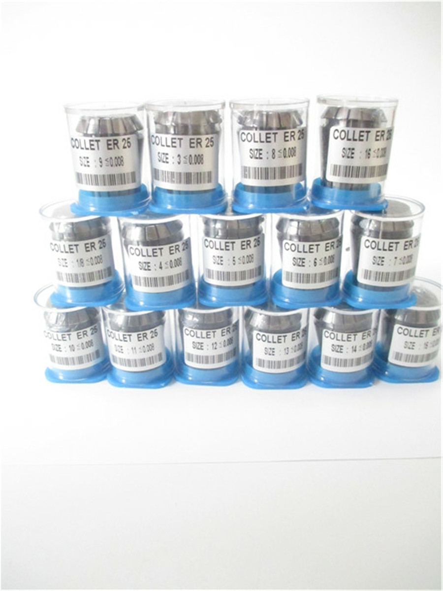 Free Shipping High Precision 0 008 15pcs ER25 collets ER 25 Spring Collet Suitable for ER