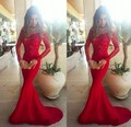 2016 Popular Red Mermaid Off The Shoulder Long Sleeve Full Length Prom Dress With Lace Bodice