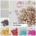 Pérolas Redondas metade 10000 pcs 2mm Cores #14-#24 Artesanato Flatback Scrapbooking Beads Use Cola DIY Mini 3D Nails Art Decorações