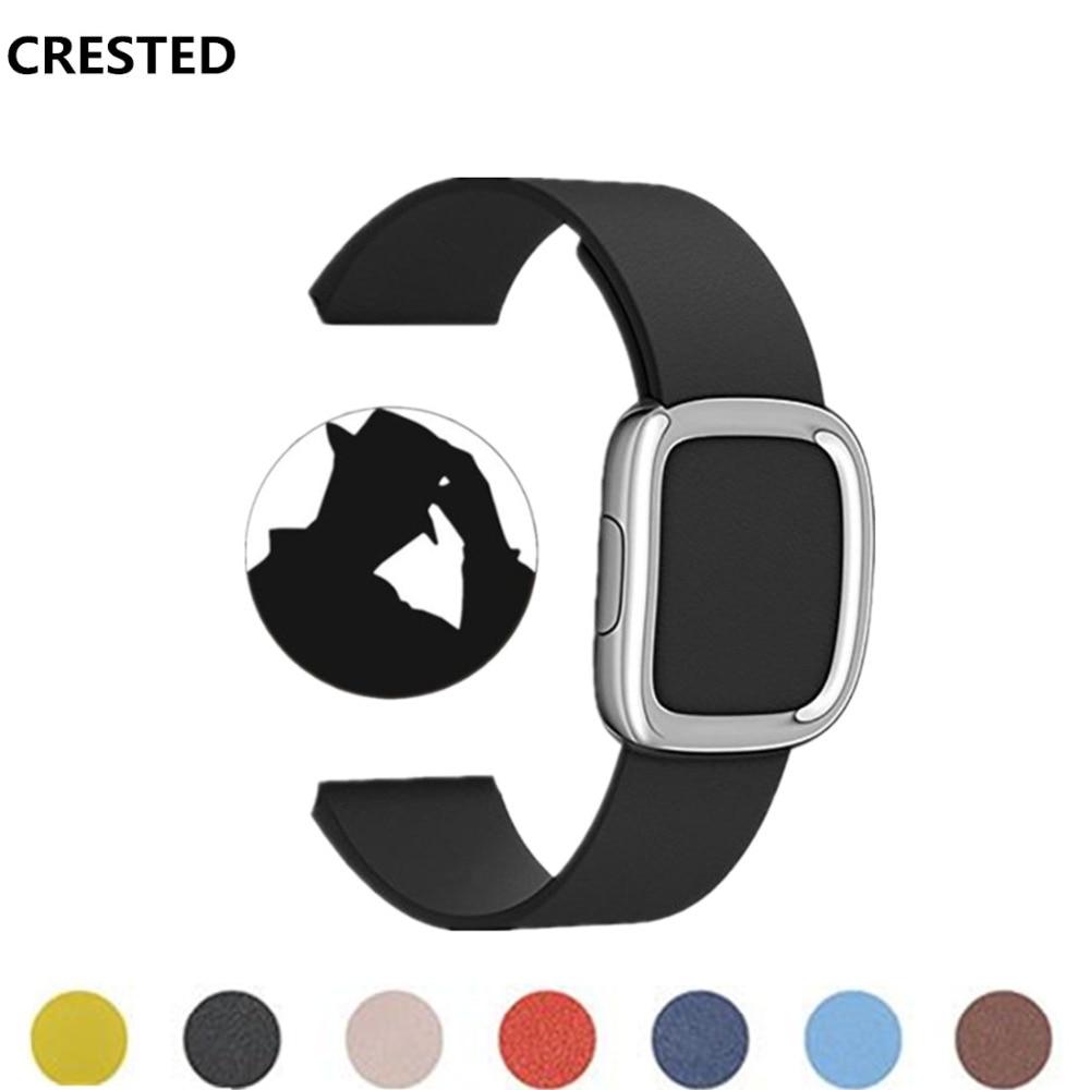 CRESTED Moderne schnalle Für Apple Uhr bandstrap 42mm/38mm iwatch serie 3/2/1 Leder handgelenk bands straps armband armband gürtel