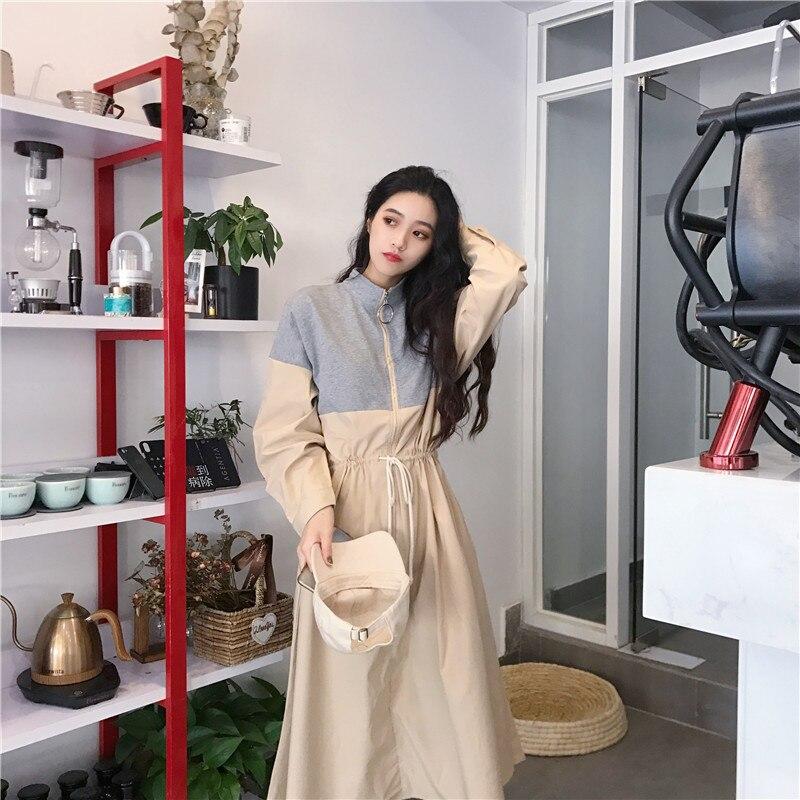 HTB10f Ea jxK1Rjy0Fnq6yBaFXaE - Spring / Autumn Mandarin Collar Long Sleeves Waist-Controlled Patchwork Zipper Midi Dress