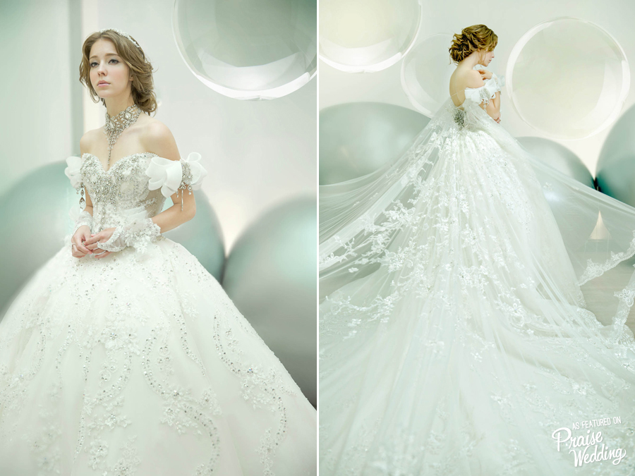 Off the Shoulder Lace Applique Beading Crystal Ball Gown Tulle ...
