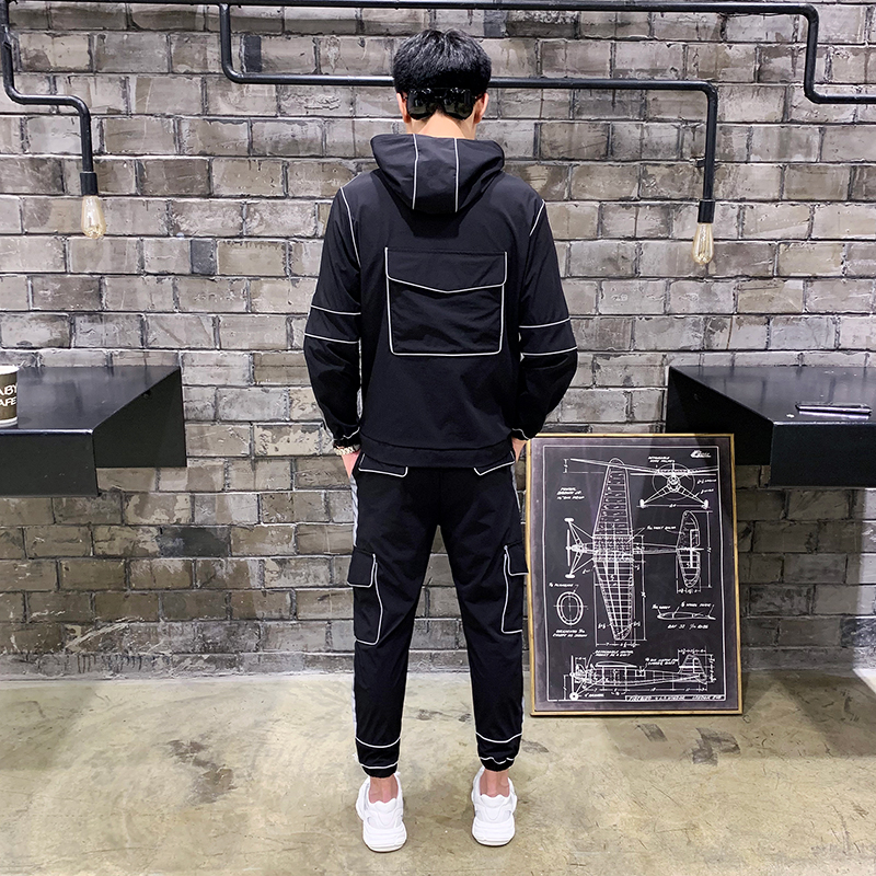 Image 5 - Tsingyi Reflective Multi pocket Shirts+Ankle length Cargo pants 2pcs Sets Tracksuit Men Women Couples Streetwear Reflect Sets-in Men's Sets from Men's Clothing