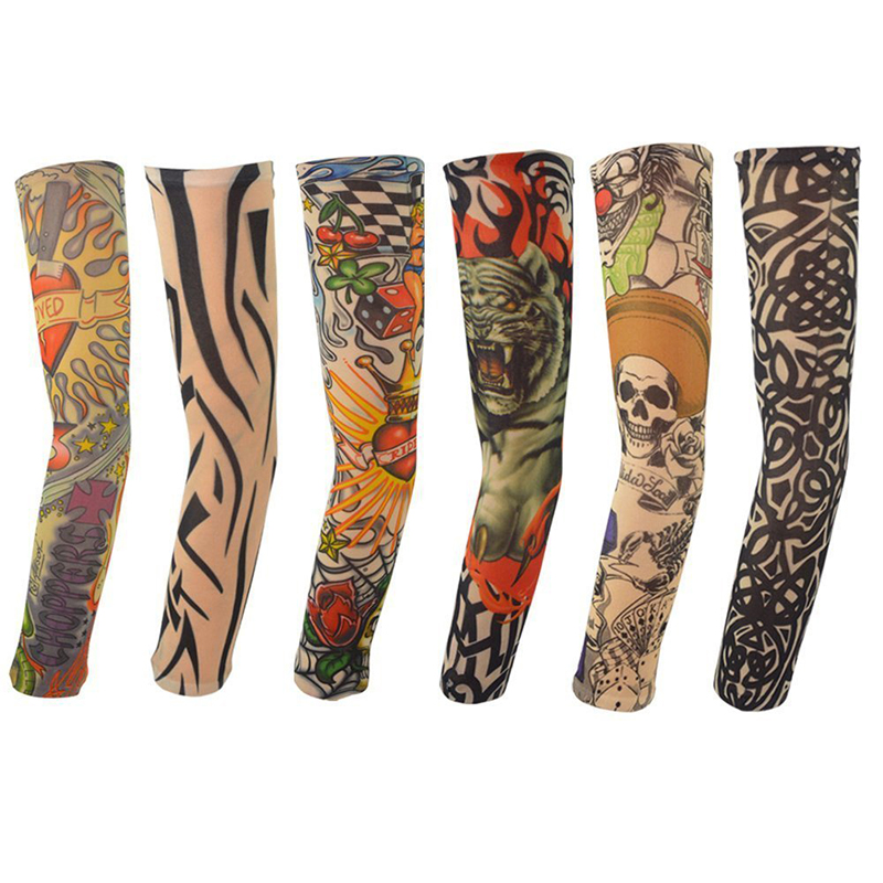 6PCS Tattoo Sleeves Hot Sale Style Temporary Fake Slip On Tattoo Arm Sleeves Kit Colletion For Halloween D01040