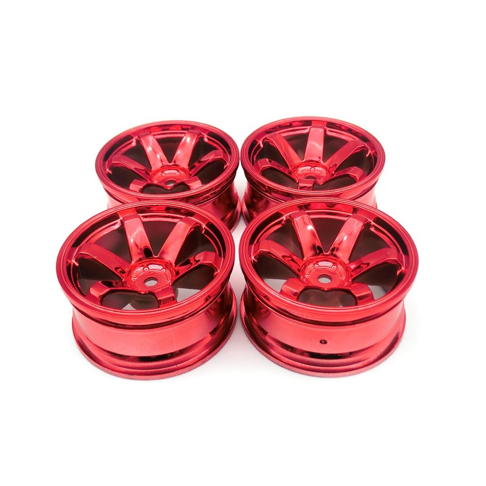 4PCS Blue/Red/Silver Plastic Wheel Rim For 1/10 HSP HPI Traxxas Tamiya Kyosho RC On-road Drift Car Wheel Hub Parts