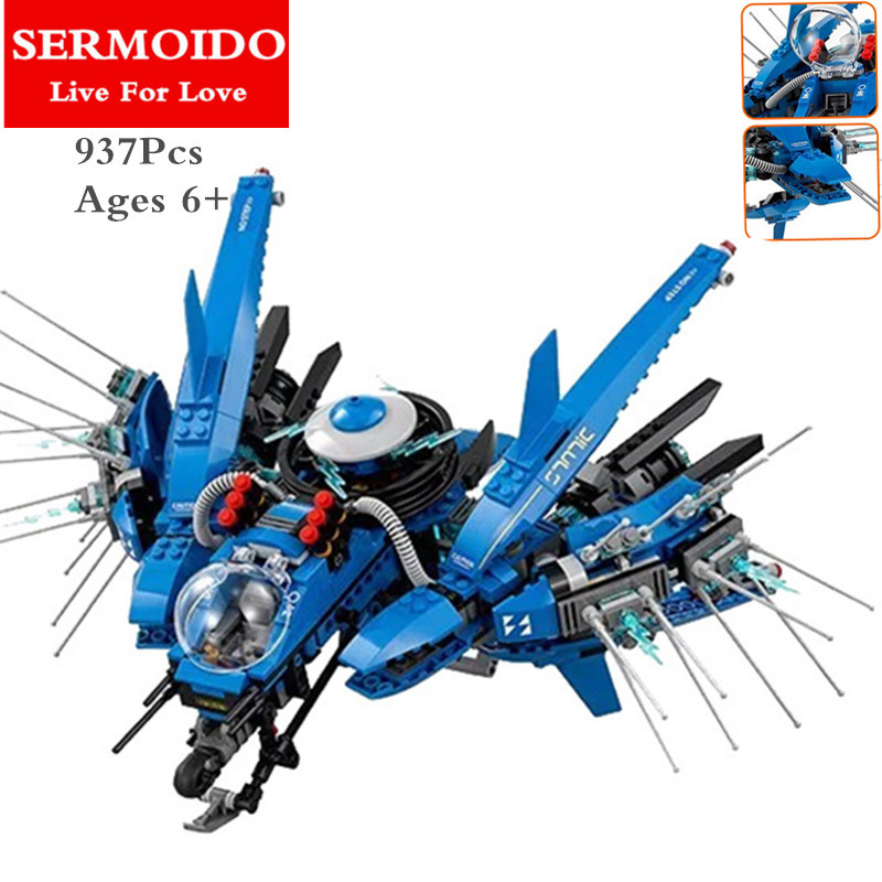 SERMOIDO 937pcs Lightning Jet Thunder Fighter Building Blocks Bricks Brinquedos Toys Compatible With 70614 Toy B78 kazi 608pcs pirates armada flagship building blocks brinquedos caribbean warship sets the black pearl compatible with bricks