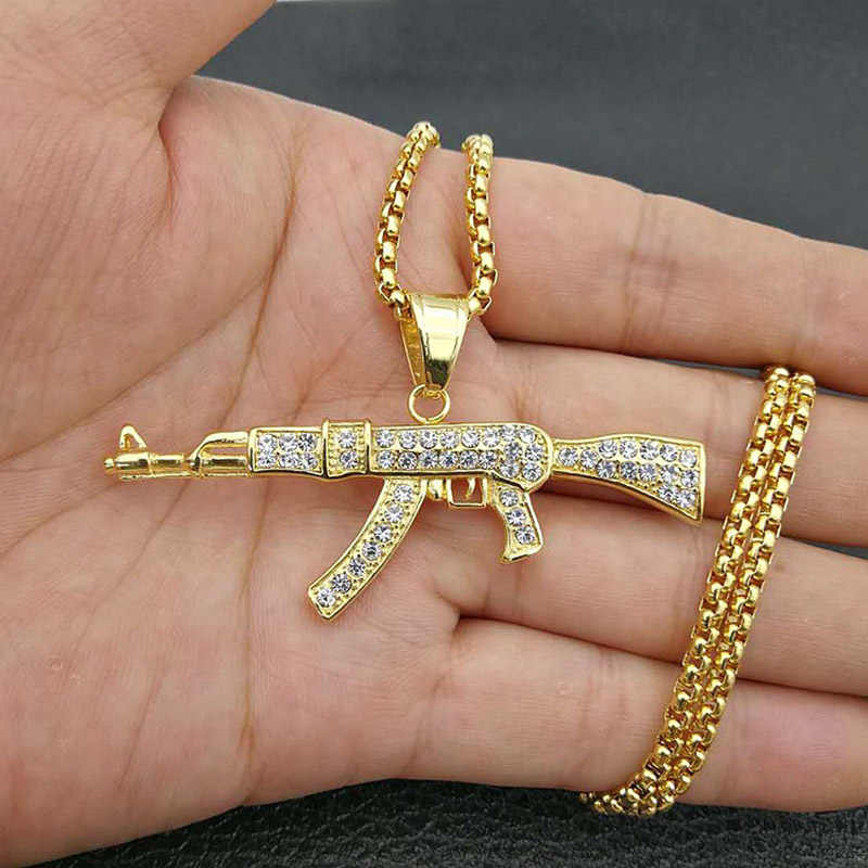 Hip Hop Rhinestones Paved Bling Iced Out Gold Silver Color Stainless Steel AK 47 Gun Pendants Necklace for Men Rapper jewelry