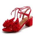Mulheres Sandálias de Couro genuíno Sexy Borla Grossas de Salto Alto Verão Mulher Sapatos Casuais Plus Size 35-43
