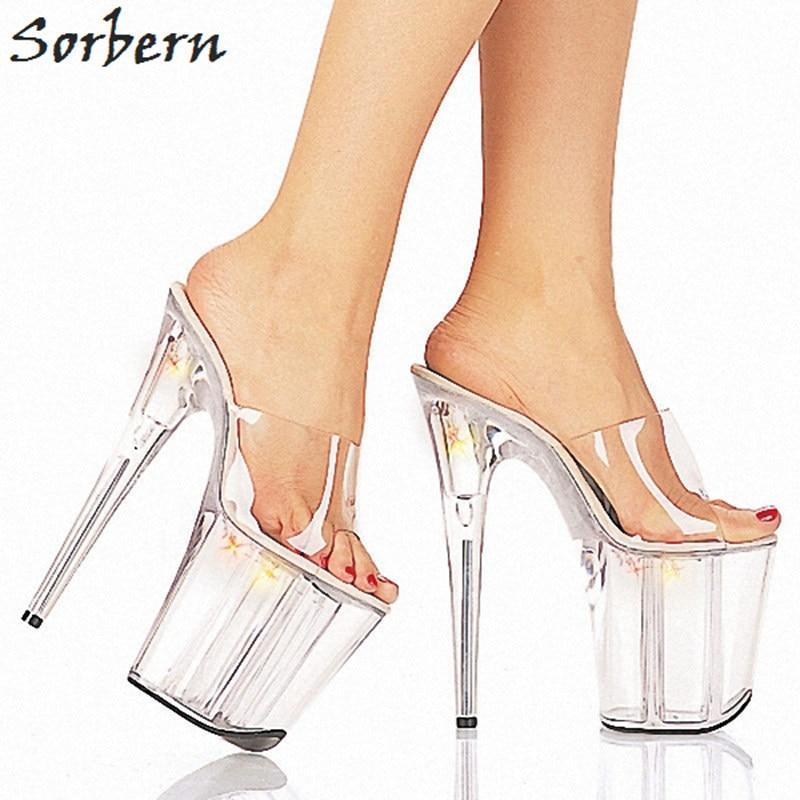 Sorbern Women Slippers Transparent Pvc Slip On Slides Ladies 20Cm High Heels Open Toe - 2