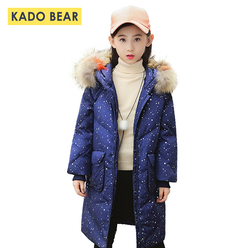 Kids Girls Fur Collar Thick Winter Down Coat Jackets Baby Girl Warm Clothes 2018 Fashion Children Snowsuit Outerwear Baby Coats стоимость