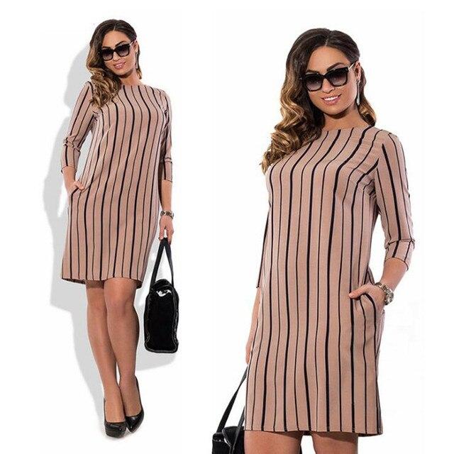 US $12.16 29% OFF|WIPU Summer women dress three Quarter Sleeve Dress Women  Plus Size striped Loose Dresses Big Large Size Office Work Wear 5XL -in ...