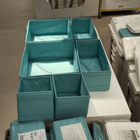 Set Of 6 IKEA SKUBB Polyester Storage Box Foldable Clothes Baskets Different Size With Zipper On