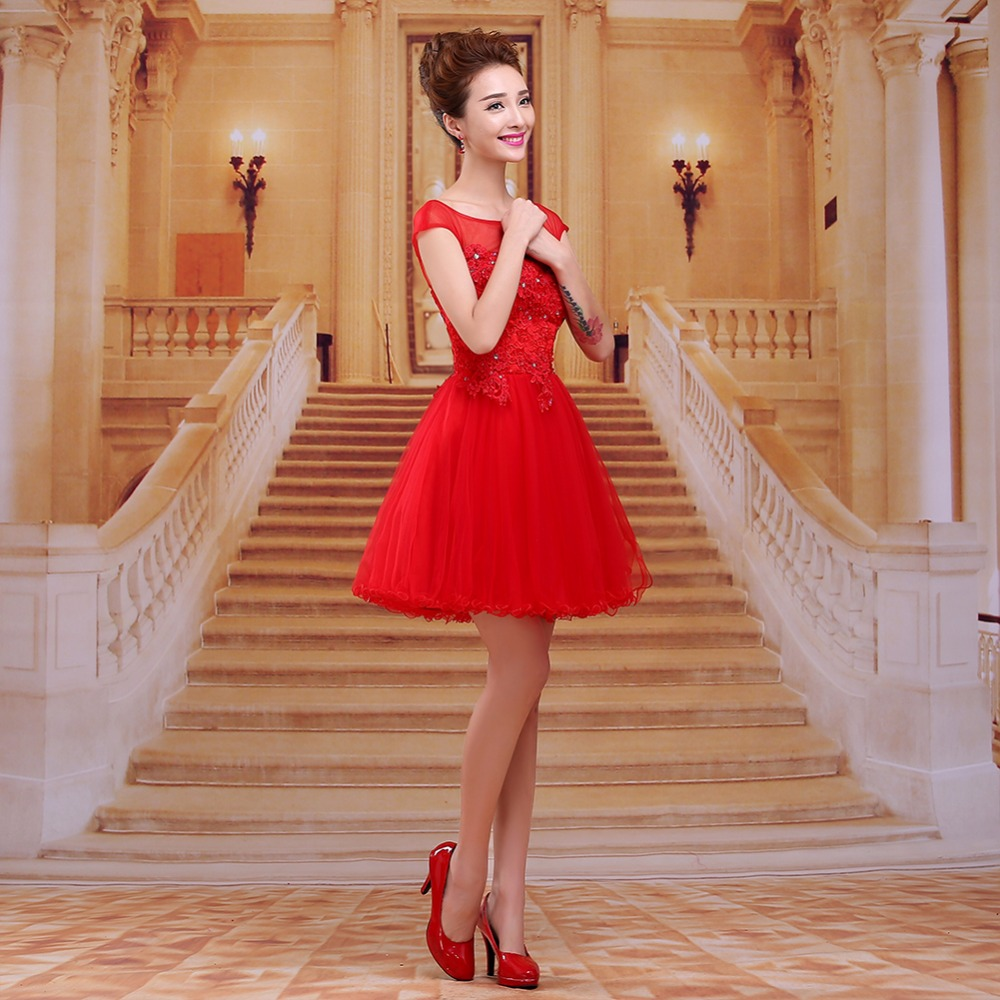 Real Photo Red Cocktail Dresses Sexy Tulle Scoop Cap Sleeves ...
