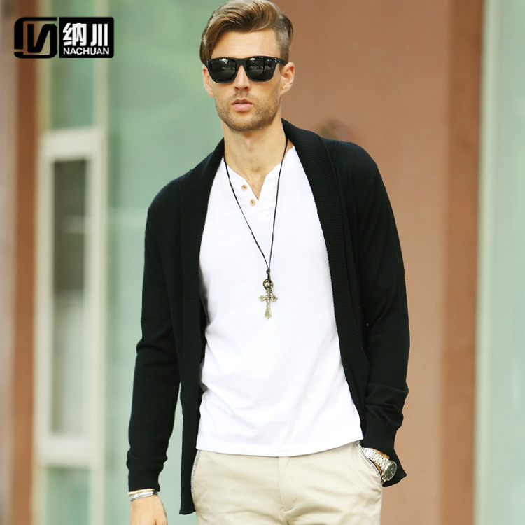 Brand-clothing Men Casual cardigan Pullovers Men Sweater Brand Long Sleeve Unique design Shawl Collar Slim Fashion Men sweater