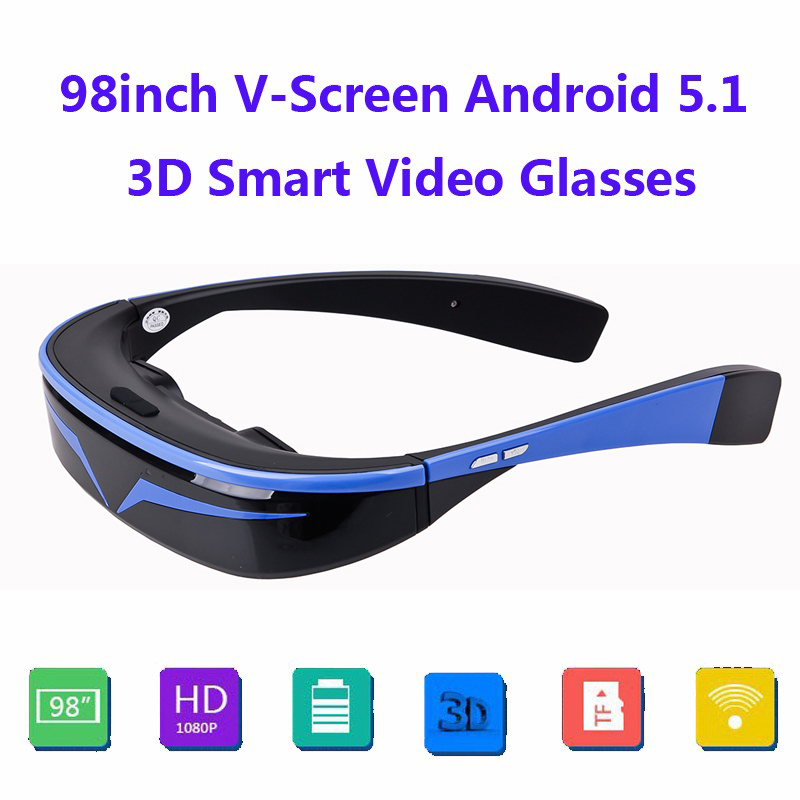 COOL 98 16:9 Virtual Wide Screen Andriod 5.1 WiFi BT Video Glasses Eyewear Private Theater with Card Slot Built-in 16GB Memory