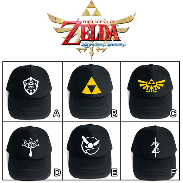 low priced 3663e 45a4b Game The Legend of Zelda Breath of the Wild Skyward Sword Symbol Black Mesh Trucker  Cap Baseball Cap Hat Cosplay Costume Cool