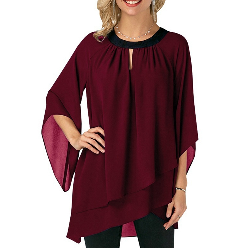 Women Elegant Round Neck Patchwork Shirts Chiffon Blouse Flare Sleeve Irregular Hem Blusas OL Work Clothes Ladies Tops