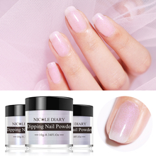 NICOLE DIARY 10g Dipping Nail Powder Pearly Shell Gradient French Natural Dry Colors Glitter Cure Art Decoration