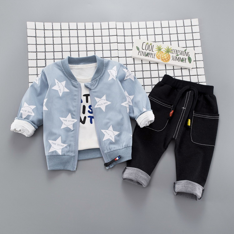 HYLKIDHHUOSE Autumn Baby Girls Boys Clothing Sets Infant Clothes Suits Star Coats T Shirt Pants Casual Kid Child Clothes Suits bibicola spring autumn baby boys clothing set sport suit infant boys hoodies clothes set coat t shirt pants toddlers boys sets
