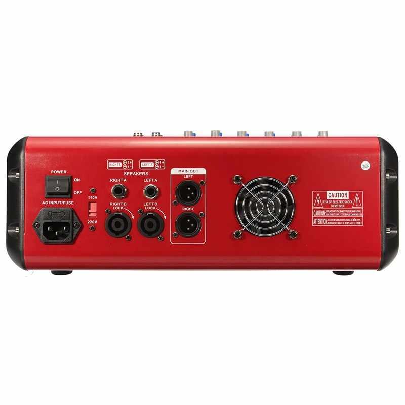 ELM, micrófono profesional de 6 canales, consola mezcladora de sonido, bluetooth, Karaoke, amplificador de mezcla de Audio con USB 48V Phantom Power