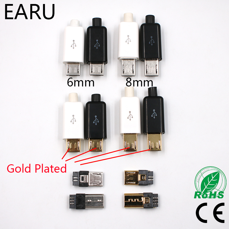10pcs 6mm 8mm Micro USB 5PIN Welding Type Male Plug Connectors Charger 5P Tail Charging Socket 4 in 1 White Black Gold Plated 10 pcs 8 pin din socket female din plug cables connectors for soldering iron diy