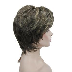 Image 5 - StrongBeauty frauen Perücken Natürlichen Flauschigen Asche Blonde Kurze Gerade Synthetische Volle Perücke 7 Farbe