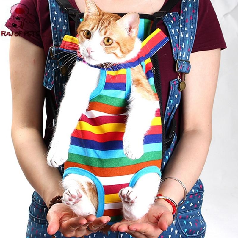 Nově Pet Cestovní taška Cat Carrier Bag pro malé psy Pet Hmotnost 0-10kg Pět děr batoh přední hrudník batoh Rainbow  t