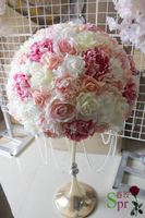 SPR NEW 50cm wedding table centerpiece flower ball with beads chain wedding artificial rose flower wall backdrop arch flowers