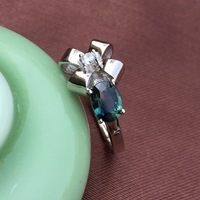 Romantic sapphire flower ring natural dark blue sapphire silver ring solid 925 sterling silver sapphire ring for evening party