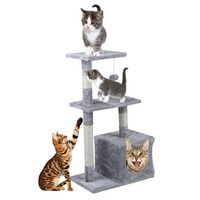 Domestic Delivery H85cm Cat Toy Kitten House Scratching Post Wood Climbing Cat Tree Pet Home Cat