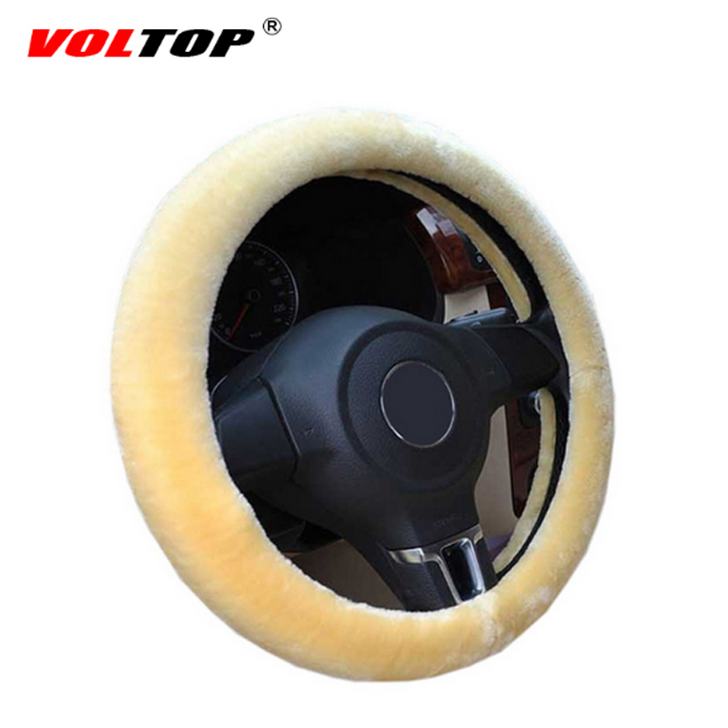 VOLTOP Plush Car Steering Wheel Cover Winter leather Wheel Cover Soft Wool Universal Auto Handle Cover Car Accessorie 36-38cm