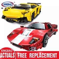 XingBao 03008 03011 The Red Phantom Racing Car & Yellow Flash Technic MOC Series Building Blocks DIY Toys