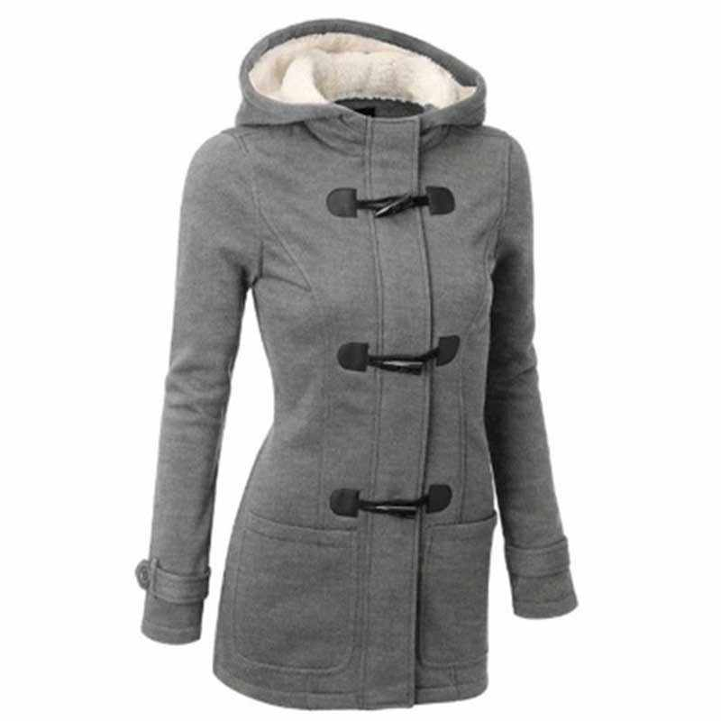 7472fbfaf0b4 ... Wipalo Plus Size Women'S Winter Classic Style Flocked Hooded Pocket Toggle  Duffle Coat Casual Solid Jacket