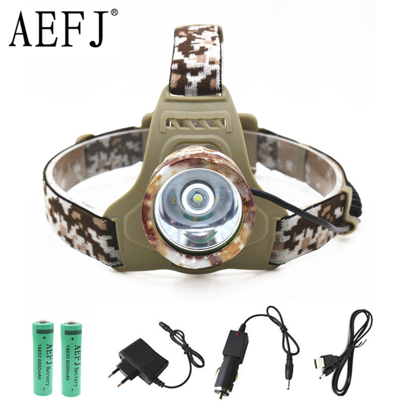 XM-L T6 LED Camouflage Headlamp Headlight Head Torch Camping Lamp Light +2x Battery+Car EU/US/AU/UK Plug Charger