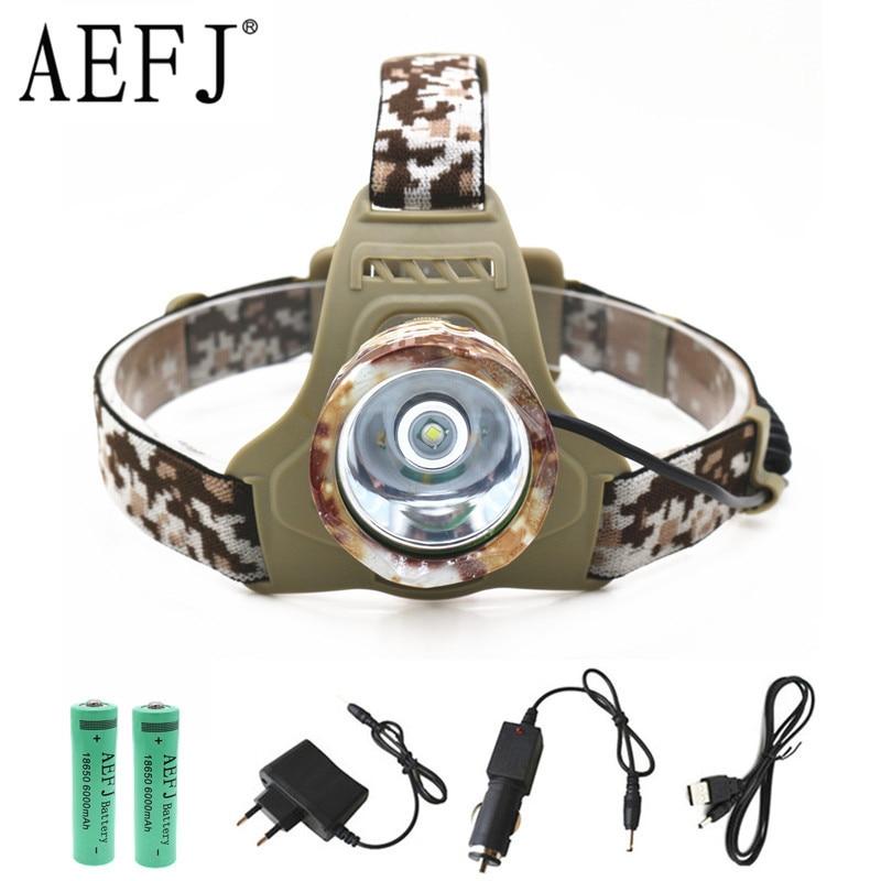 XM-L T6 LED Camouflage Headlamp Headlight Head Torch Camping Lamp Light +2x Battery+Car EU/US/AU/UK Plug Charger