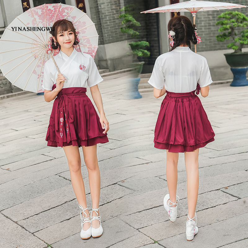 Hanfu Costume Dress Women Improved Hanfu Daily Short Sleeve Hanfu Embroidered Crossdresses Costumes Han Elements Student Set 15